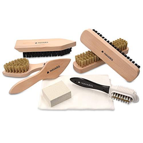 Navaris Set de Limpieza de Zapatos - Kit 6X Cepillo 1x Esponja para Suciedad y 1x paño de Pulido - Cepillos para Distintos Tipos de Calzado de Cuero