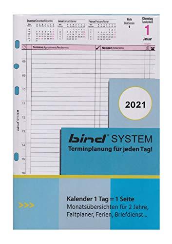 BIND B550321 - Kalendereinlage für Tageskalender A5 - für Kalender Jahr 2021, 1 Tag / 1 Seite, Terminkalender mit System