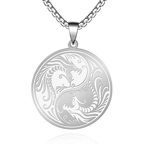 FLYUN Yin Yang Dragon Pendant Necklace for Men Amulet Jewelry (A1-Dragon-Steel)