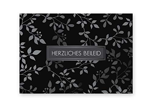 Friendly Fox Kondolenzkarten - 12 Trauerkarten mit Umschlag Herzliches Beileid Karten Set schwarz - hochwertige Beileidskarten mit Umschlag - Anteilnahme Karte Beileid zum Trauerkarte schreiben