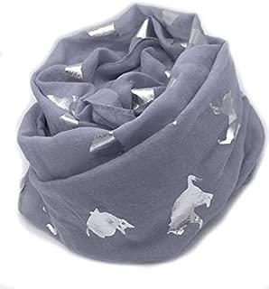 Grey cat metallic foil print scarf