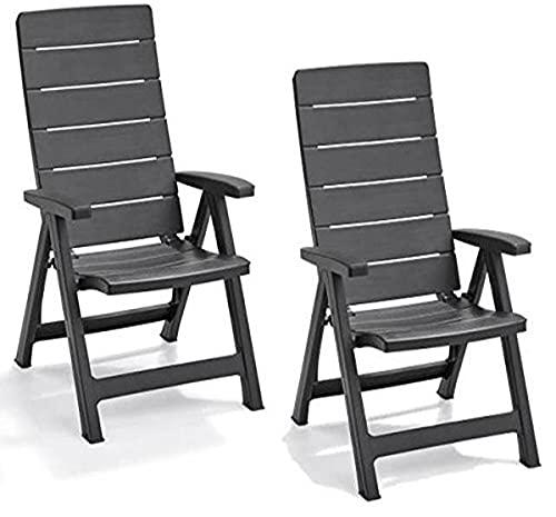 Keter Brasilia Allibert Lot de 2 fauteuils de Jardin inclinables –Graphite