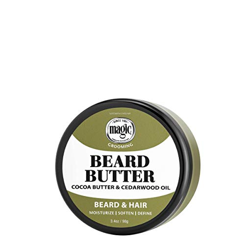 Softsheen-Carson Magic Men's Grooming Conditioning Beard Butter with Cocoa Butter and Cedarwood Oil, Moisturizes, Softens and Define with No Drying Alcohol, 3.5 oz