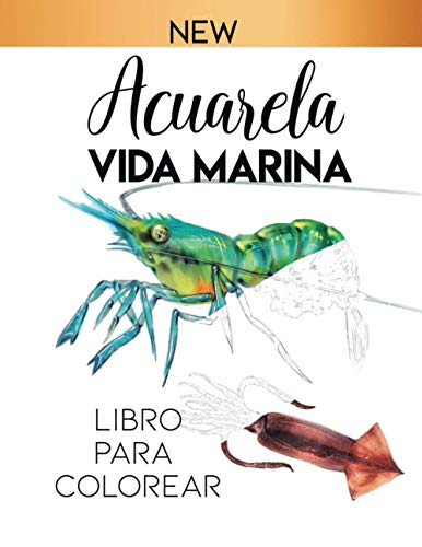 acuarela vida marina: libro para colorear