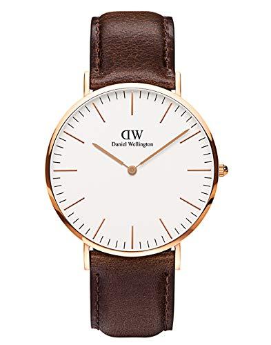Daniel Wellington Herren Analog Japanese Quartz Uhr mit Lederband Armband DW00100009