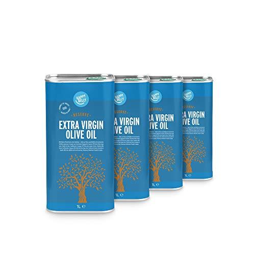 Marque Amazon - Happy Belly 100% Huile d'olive vierge extra grecque - Réserve (4 x 1L)