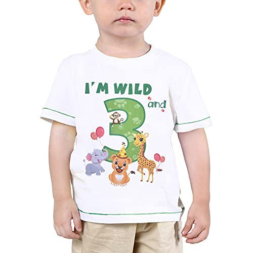 3er Camiseta Cumpleaños Niño Animales de Selva Cumpleaño Manga Corta I'm Wild and 3 Camiseta de Fiesta de Animales Traje de Manga Corta con Estampado De Algodón (Blanco, 110)