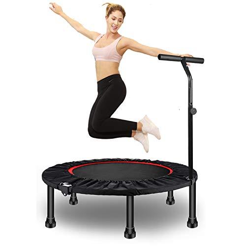 Fitness Trampolin, Ø100/122 cm faltbar Trampolin Rebounder für Cardio Workout mit 3-Fach höhenverstellbarer Haltegriff, Nutzergewicht bis 150kg, Trampolin Jumper für Erwachsene& Kinder (48)