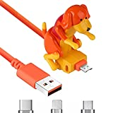 WENTING Funny Humping Dog Cable de carga rápida Perro Juguete Smartphone Cargador de cable USB creativo automáticamente oscila las nalgas cuando se carga para varios modelos (manzana naranja)