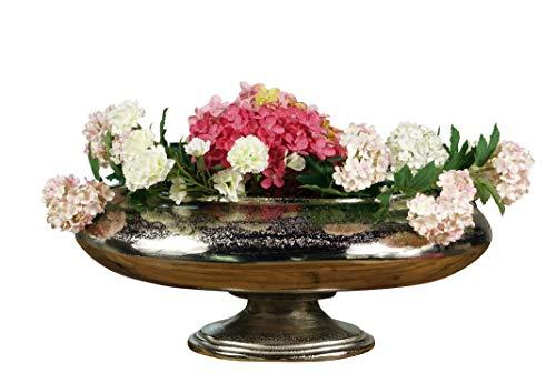 MichaelNoll Vase Blumenvase Gefäß Pokalvase Dekovase Aluminium Silber, Deko Modern aus Metall, Wohnzimmer und Küche, XXL 50 cm