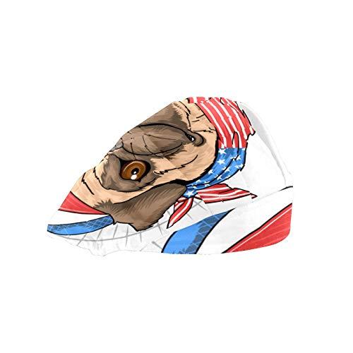 Gorra de trabajo para el pelo largo con banda elástica ajustable para el sudor, gorras de trabajo para hombres, bufanda de cabeza impresa en 3D, sombreros carlino perro bandera de Estados Unidos