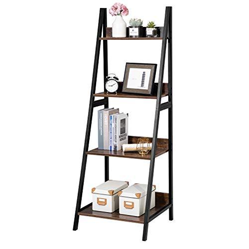 GreenForest Ladder Shelf 4 Tier Bookcase Metal Frame Bookshelf Home Office Storage Rack Shelf Plant Stand, Brown