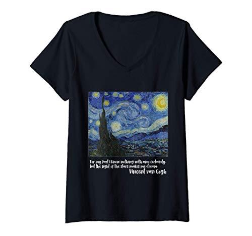 Mujer Noche estrellada de Vincent van Gogh | Pintura famosa Camiseta Cuello V