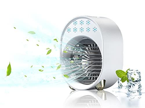Ventilatore Aria Fredda Ghiaccio USB, Mini Condizionatore Portatile Silenzioso Ad Acqua, Ventilatore a Batteria 3600mAh con LED, Air Cooler Air Conditioner Refrigeratore Mini Umidificatore (Bianca)