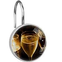 シャワーカーテンフック ステンレス鋼の錆びにくい装飾的なハンガーリング、12のセット,ワイン