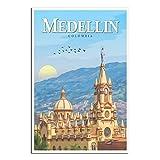 Vintage-Reise-Poster Medellin Kolumbien Kathedrale