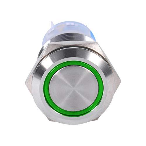 Interruptor de botón LED, interruptor de botón de enclavamiento autobloqueante inoxidable impermeable de 19 mm 12V LED(Verde)