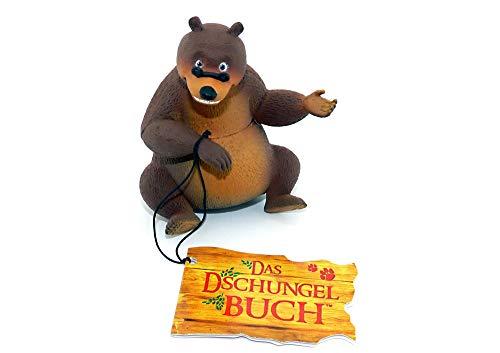 Balu der Bär Figur aus der Serie Das Dschungelbuch. Mit Dschungelbuch Schild und Band am Fuß