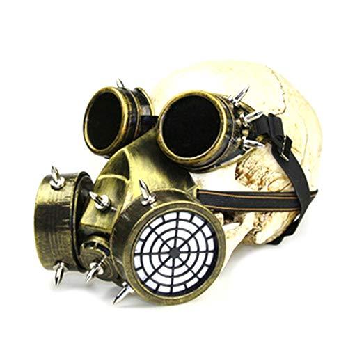 Gaoominy Steampunk de Gas de Metal con Gafas, Casco de de Muerte para Disfraz de Halloween