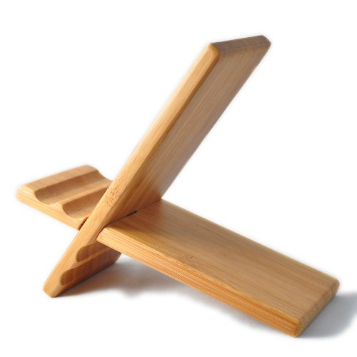 SunSmart Natural Wood Bamboo Hard Panel Stand for iPhone,iPad,Samsung Mobile Phone,Tablet PCs, eReaders, Artwork and More (Bamboo)