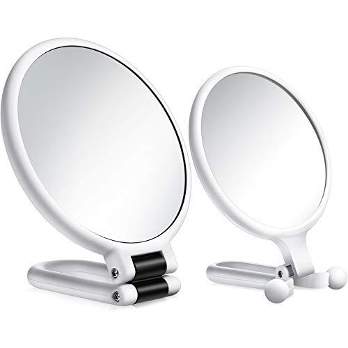 2 Pièces 15x Miroir de Poche Grossissant et 10x Miroir de Maquillage de Voyage, Miroir sur Pied Pliant à Double Face Miroir à Main avec Grossissement 1/ 15x 1/ 10x (Blanc)