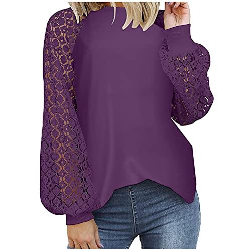 WAo Las mujeres de moda blusas casuales sueltas Tops de color sólido camisa jersey hueco de encaje manga larga cuello redondo camisas, Morado (, XL