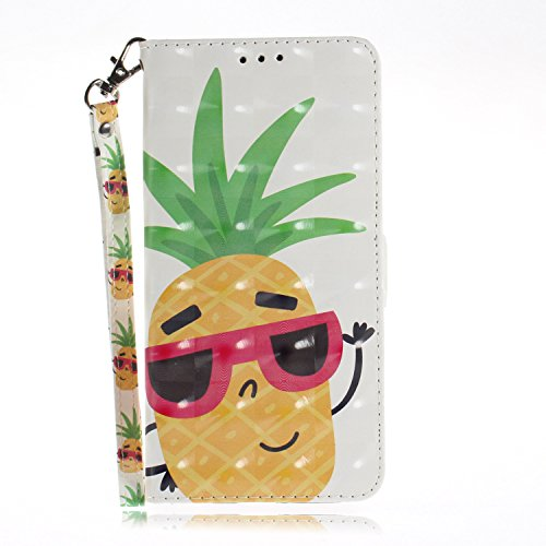 JCKHM compatible con iPhone 6/6S 4.7 Funda de Piel Cuero PU Wallet Case Flip Case Carcasa de cuero pintada en 3D con cordón 360 Grados Cover Carcasa con TPU Bumper Case,Piña