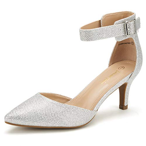 DREAM PAIRS Women's Lowpointed Silver Glitter Low Heel Dress Pump Shoes - 5 M US