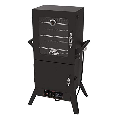 Smoke Hollow 38205GW 38 Inch 2 Door Tempered Window Welded Steel LP Gas Smoker with 4 Adjustable Chrome-Plated Cooking Grids, Black