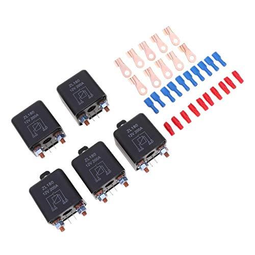 YEESEU 5 Paquetes 200A 4 Interruptor Pin relé de Coches Automoción de Cambio de relé del sostenedor del zócalo - 12VDC