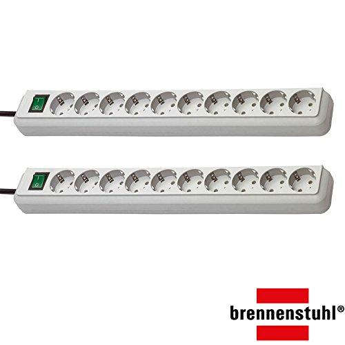 Brennenstuhl Eco-Line, Steckdosenleiste 10-Fach (mit Schalter und 3m Kabel - besonders stromsparend) (Lichtgrau   2er Set)