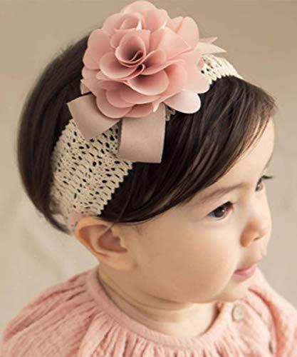 Deniferymakeup Niedliches Stirnband für Babys/Mädchen, elastische Spitze, Haarband, Rosa, Blumen, Haarschmuck