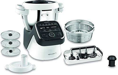 Krups Prep & Cook XL Küchenmaschine mit Kochfunktion HP50A8 | inkl. Schnitzelwerk | 1550 W | 3 L Edelstahlschüssel | 12 Programme + Manueller Modus | 6 Zubehöre + Schnitzelwerk | Schwarz/Weiß