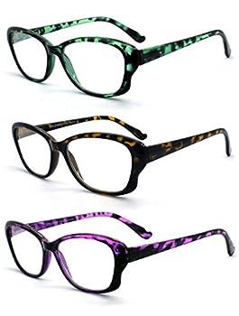 EYE ZOOM 3 Pack Ladies Cat Eye Tortoise Shell Reading Glasses Mul-color +1.50