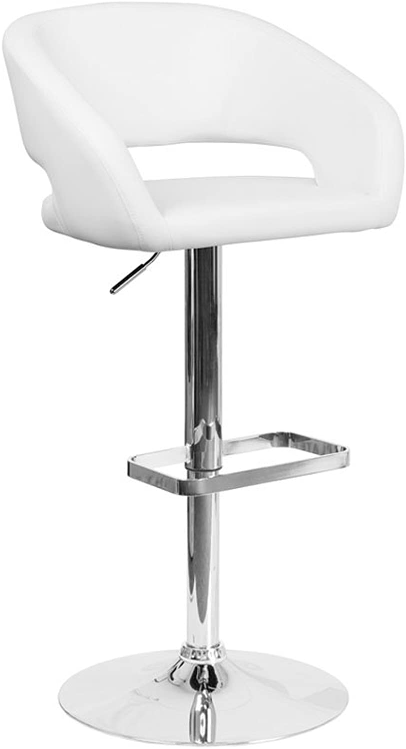 Offex Contemporary Vinyl Adjustable Height Barstool with Chrome Base, 20.5  x 21'' x 42'', White (OFX-400221-FF)