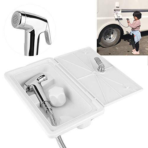 kuuleyn Caja de ducha para autocaravana, 267 x 157 x 107 mm Kit de caja de ducha exterior ABS Interruptor de frío caliente con 2 llaves Kit para barco marino Autocaravana Caravana Blanco