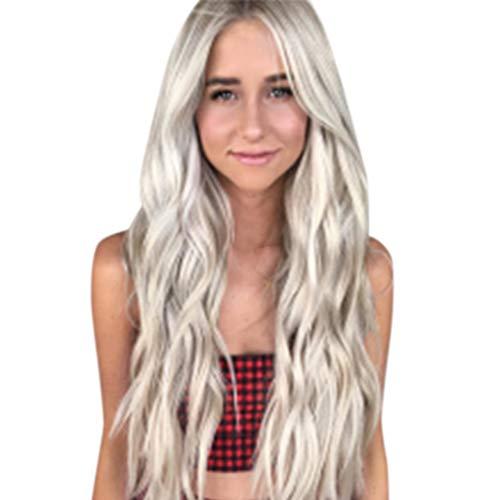 Perruque Naturel Long RéSistant à La Chaleur Fibre Cheveux SynthéTiques Perruques Pour Femme Noire Postiches BoucléS Naturel (Blanc)