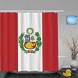 Honeytecs Cortina de Baño,Silinana Flag of Peru Pattern Impresión Digital,Cortinas de Ducha con 12 Ganchos de plástico 180 * 180cm