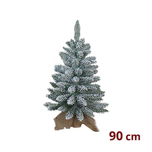 We Love Christmas PINETTO di Natale INNEVATO con Base in Juta 90 CM