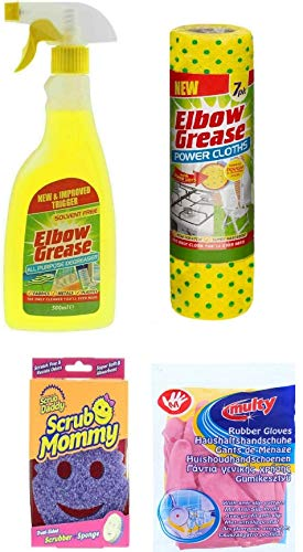 4 Pack Cleaning Bundle: Elbow Degreaser 500ml, Power Cloth (7), Scrub Mommy, Medium Hand Glove