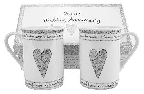 Haysoms 60th Diamond Wedding Set Ceramic Mugs