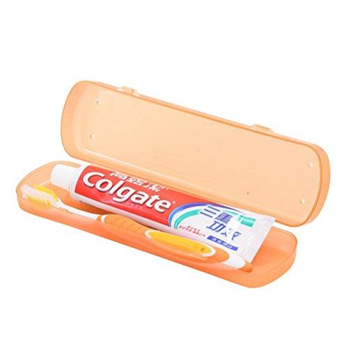 OUNONA Porte-Brosse à Dents de Voyage avec Récipient à Dentifrice portatif Orange
