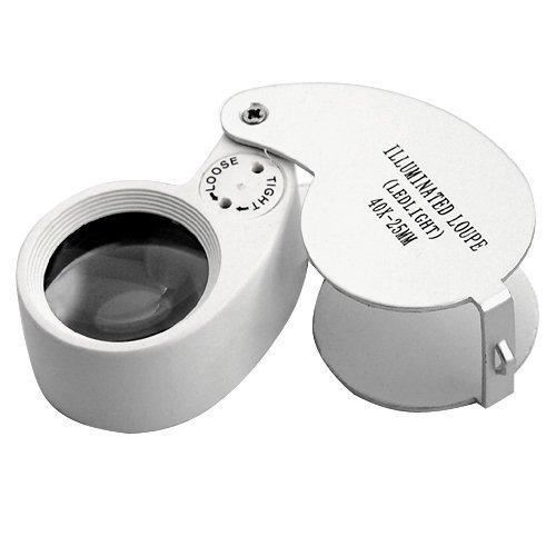 Accessotech LED Juwelier-lupe 40 x 25mm Glas Schmuck Vergrößerungsglas Beschauzeichen Augenlupe Gold