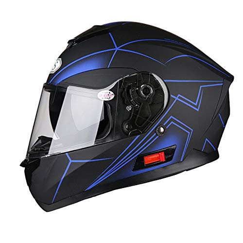 Stella Fella Helmets Men Fine Line Graffiti Double Lens Men And Women Motorcycle Full Cover Helmet Locomotive Electric Car Off-road Riding Full Face Helmet ABS (Color : Black blue, Size : XL)