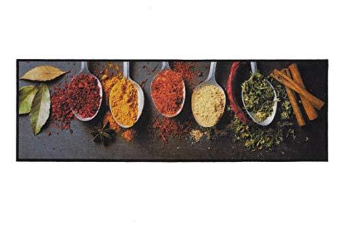 Läufer Küchenläufer Küchenteppich Teppich Teppichläufer Antirutschmatte Küchenmatte Vorleger für die Küche waschbar rutschfest 50x150 cm groß Landhaus-Stil Gewürze Motive