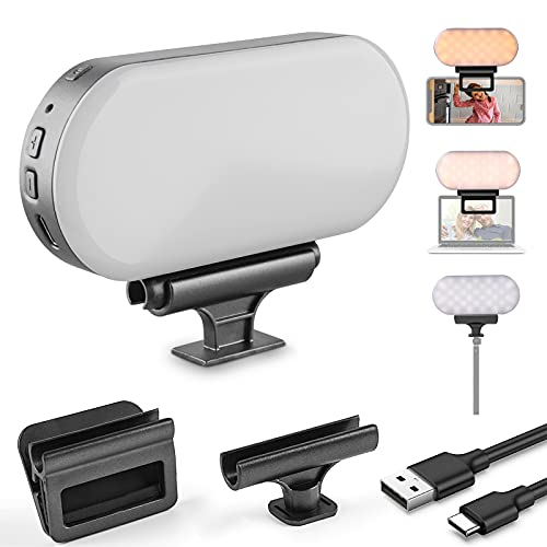 Video Conference Lighting, FOKIEE Dimmable Webcam Zoom Light for Video Conferencing and Remote Working, USB Rechargeable, Fits Computer Laptop Monitor, iPad, Camera, for Selfie, Photography and Video