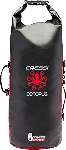 Cressi Octopus Dry Backpack, Sacca/Zaino Stagna Multiuso Unisex Adulto, Nero/Rosso, 30 L