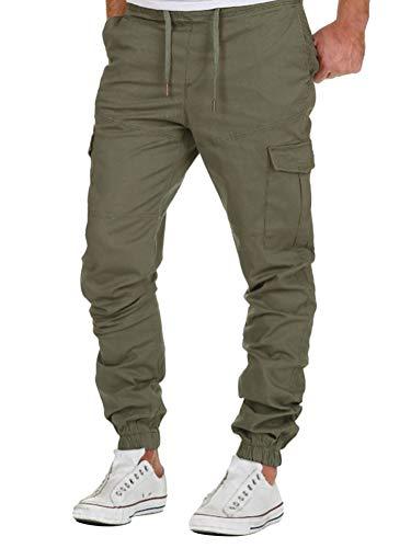 Minetom Pantalon Cargo Slim Homme Casual Été Pantalons Jogging Multi Poche Cordon De Serrage Baggy Style Pants Vert Medium