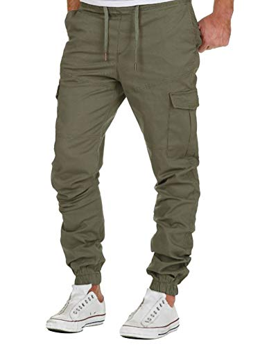 Minetom Homme Pantalon Cargo Casual Jogging Cordon De Serrage Baggy Pants Trousers Sport Activewear Sweatpants Mode Vert Small