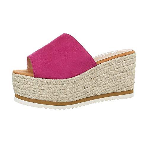 Ital-Design Damenschuhe Sandalen & Sandaletten Pantoletten Synthetik Pink Gr. 36